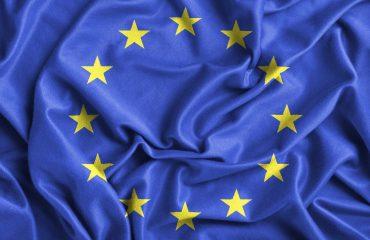 Closeup of ruffled Europe flag